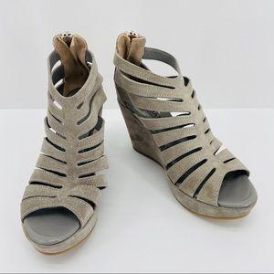 Cordani Gray Suede Caged Electra Wedge Heels